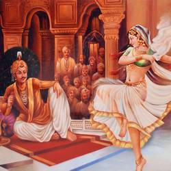 dancing room seen of rajmahal, 40 x 27 inch, vishal gurjar,figurative paintings,modern art paintings,realistic paintings,paintings for dining room,paintings for living room,paintings for bedroom,paintings for hotel,canvas,acrylic color,oil,40x27inch,lady,dance,king,rajmahal