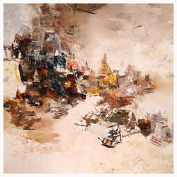 banaras 09-2015, 24 x 24 inch, anand narain,abstract paintings,paintings for dining room,canvas,oil,24x24inch,GAL07071771