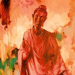 gautama buddha, 24 x 36 inch, vishal gurjar,figurative paintings,modern art paintings,paintings for dining room,paintings for living room,paintings for office,paintings for hotel,paintings for school,paintings for hospital,canvas,acrylic color,oil,24x36inch