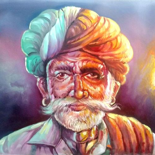 old mustache man, 24 x 18 inch, vishal gurjar,figurative paintings,modern art paintings,paintings for dining room,paintings for living room,paintings for office,paintings for hotel,canvas,acrylic color,oil,24x18inch