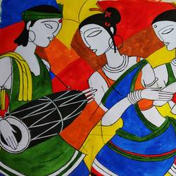 dance, 16 x 23 inch, santosh  gorai,paintings,folk art paintings,conceptual paintings,paintings for dining room,paintings for living room,paintings for bedroom,paintings for office,paintings for hotel,paintings for dining room,paintings for living room,paintings for bedroom,paintings for office,paintings for hotel,handmade paper,acrylic color,16x23inch,GAL0804117713