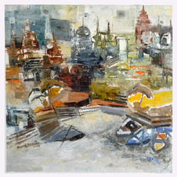 banaras 04-2015, 12 x 12 inch, anand narain,abstract paintings,paintings for dining room,canvas,oil,12x12inch,GAL07071772