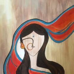 abstract image of a woman, 12 x 16 inch, promila singh,paintings,abstract expressionist paintings,paintings for living room,thick paper,acrylic color,12x16inch,GAL0823217728