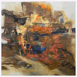 banaras 01-2015, 12 x 12 inch, anand narain,abstract paintings,paintings for dining room,canvas,oil,12x12inch,GAL07071773