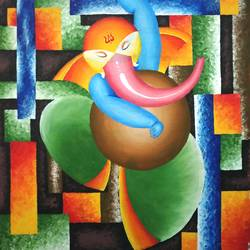 dancing ganesha, 15 x 23 inch, chandrakesh  singh,paintings,figurative paintings,religious paintings,art deco paintings,cubist paintings,illustration paintings,impressionist paintings,portraiture,ganesha paintings,contemporary paintings,paintings for dining room,paintings for living room,paintings for bedroom,paintings for office,paintings for kids room,paintings for hotel,paintings for kitchen,paintings for school,paintings for hospital,canvas,acrylic color,15x23inch,GAL0705617734,vinayak,ekadanta,ganpati,lambodar,peace,devotion,religious,lord ganesha,lordganpati,ganpati,ganesha,lord ganesh,elephant god,religious,ganpati bappa morya,mouse,mushakraj,ladoo,sweets,dancing ganpati