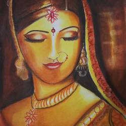 indian dulhan, 17 x 12 inch, sandhya kumari,paintings,figurative paintings,modern art paintings,portrait paintings,paintings for dining room,paintings for living room,paintings for bedroom,paintings for hotel,canson paper,pastel color,17x12inch,GAL0365917735