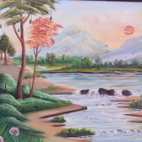 nature, 48 x 24 inch, babulal patel,paintings for living room,nature paintings,hardboard,oil,48x24inch,GAL03601774Nature,environment,Beauty,scenery,greenery