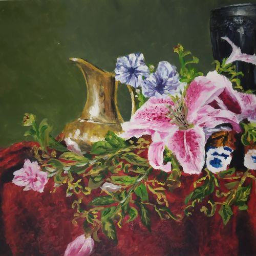 still life beauty, 15 x 11 inch, chandrakesh  singh,paintings,modern art paintings,still life paintings,art deco paintings,illustration paintings,realistic paintings,paintings for dining room,paintings for living room,paintings for bedroom,paintings for office,paintings for bathroom,paintings for kids room,paintings for hotel,paintings for kitchen,paintings for school,paintings for hospital,thick paper,oil,15x11inch,GAL0705617744