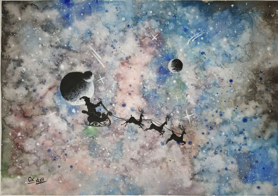 cosmic beauty with santa claus , 15 x 11 inch, chandrakesh  singh,paintings,religious paintings,nature paintings,art deco paintings,illustration paintings,realism paintings,realistic paintings,love paintings,children paintings,kids paintings,paintings for dining room,paintings for living room,paintings for bedroom,paintings for office,paintings for bathroom,paintings for kids room,paintings for hotel,paintings for school,paintings for hospital,paintings for dining room,paintings for living room,paintings for bedroom,paintings for office,paintings for bathroom,paintings for kids room,paintings for hotel,paintings for school,paintings for hospital,paper,watercolor,15x11inch,GAL0705617746Nature,environment,Beauty,scenery,greenery