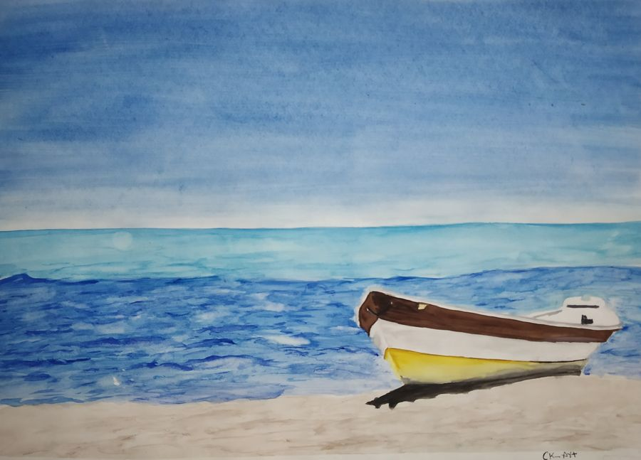 sea shore with boat, 15 x 11 inch, chandrakesh  singh,paintings,landscape paintings,nature paintings,art deco paintings,illustration paintings,realism paintings,realistic paintings,paintings for dining room,paintings for living room,paintings for bedroom,paintings for office,paintings for bathroom,paintings for kids room,paintings for hotel,paintings for kitchen,paintings for school,paintings for hospital,paper,watercolor,15x11inch,GAL0705617747Nature,environment,Beauty,scenery,greenery