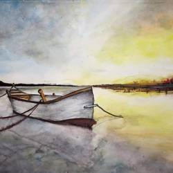 beauty of sunset with boat , 15 x 11 inch, chandrakesh  singh,paintings,landscape paintings,nature paintings,art deco paintings,illustration paintings,realism paintings,realistic paintings,paintings for dining room,paintings for living room,paintings for bedroom,paintings for office,paintings for bathroom,paintings for kids room,paintings for hotel,paintings for kitchen,paintings for school,paintings for hospital,paper,watercolor,15x11inch,GAL0705617749Nature,environment,Beauty,scenery,greenery