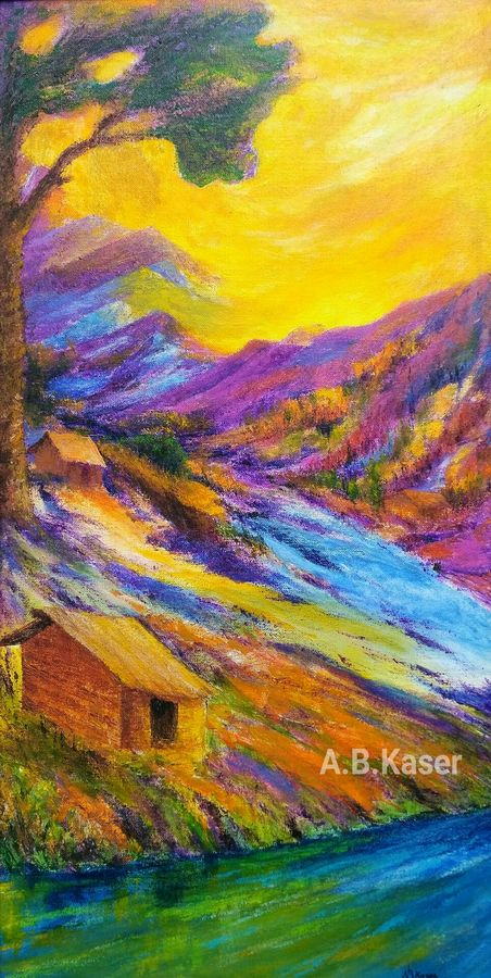 nature, 13 x 26 inch, a.b.  kaser,landscape paintings,paintings for living room,canvas,acrylic color,13x26inch,GAL06361775