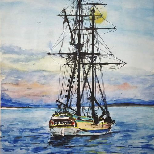 beauty of sunset with ship, 11 x 15 inch, chandrakesh  singh,paintings,landscape paintings,nature paintings,art deco paintings,illustration paintings,realism paintings,paintings for dining room,paintings for living room,paintings for bedroom,paintings for office,paintings for bathroom,paintings for kids room,paintings for hotel,paintings for kitchen,paintings for school,paintings for hospital,paper,watercolor,11x15inch,GAL0705617751Nature,environment,Beauty,scenery,greenery