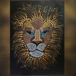 dot art lion, 18 x 24 inch, varsha kashyap,paintings,wildlife paintings,modern art paintings,paintings for dining room,paintings for living room,paintings for office,paintings for hotel,paintings for dining room,paintings for living room,paintings for office,paintings for hotel,canvas board,acrylic color,18x24inch,GAL0846817752
