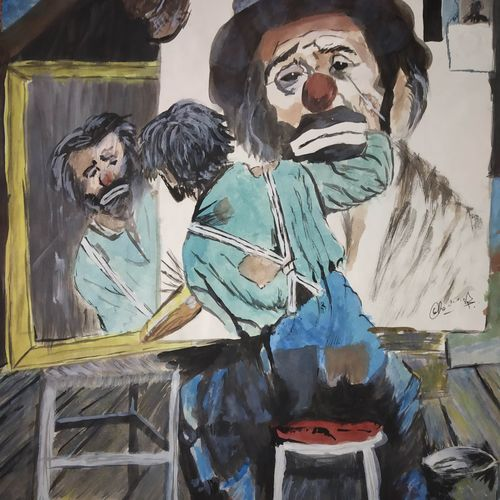 hidden pain, 12 x 16 inch, chandrakesh  singh,paintings,figurative paintings,modern art paintings,portrait paintings,art deco paintings,expressionist paintings,illustration paintings,portraiture,realism paintings,realistic paintings,paintings for dining room,paintings for living room,paintings for bedroom,paintings for office,paintings for bathroom,paintings for kids room,paintings for hotel,paintings for kitchen,paintings for school,paintings for hospital,thick paper,poster color,watercolor,12x16inch,GAL0705617753