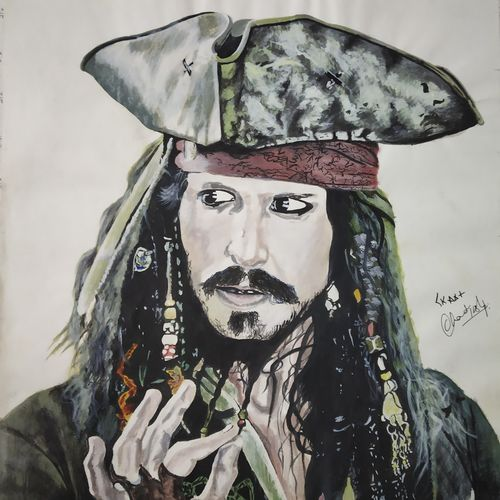 captain jack sparrow , 12 x 13 inch, chandrakesh  singh,paintings,figurative paintings,portrait paintings,art deco paintings,illustration paintings,paintings for dining room,paintings for living room,paintings for bedroom,paintings for office,paintings for bathroom,paintings for kids room,paintings for hotel,paintings for kitchen,paintings for school,paintings for hospital,art deco drawings,figurative drawings,fine art drawings,illustration drawings,portrait drawings,paintings for dining room,paintings for living room,paintings for bedroom,paintings for office,paintings for bathroom,paintings for kids room,paintings for hotel,paintings for kitchen,paintings for school,paintings for hospital,thick paper,poster color,watercolor,12x13inch,GAL0705617759
