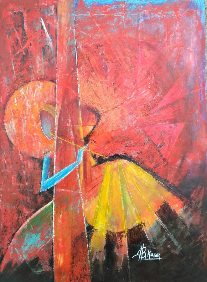 unison, 14 x 20 inch, a.b.  kaser,abstract paintings,paintings for living room,thick paper,oil paint,14x20inch,GAL06361777