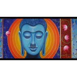 buddha , 48 x 24 inch, vinay vaidya,paintings,buddha paintings,paintings for dining room,paintings for living room,paintings for bedroom,paintings for hotel,paintings for hospital,canvas,acrylic color,48x24inch,religious,peace,meditation,meditating,gautam,goutam,buddha,lord,face,blue,lotus,peaceful,GAL0849017773