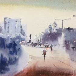 kkolkata city line iii_it's better on bike to enjoy the beauty of the city.., 22 x 15 inch, dipankar  biswas,paintings,cityscape paintings,nature paintings,paintings for dining room,paintings for living room,paintings for bedroom,paintings for office,paintings for hotel,handmade paper,watercolor,22x15inch,GAL0293217777Nature,environment,Beauty,scenery,greenery