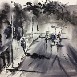 the lane connecting kaikhali with jessore road..., 22 x 15 inch, dipankar  biswas,paintings,cityscape paintings,nature paintings,paintings for dining room,paintings for living room,paintings for bedroom,paintings for office,paintings for hotel,handmade paper,watercolor,22x15inch,GAL0293217778Nature,environment,Beauty,scenery,greenery
