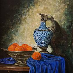 bule vass, 18 x 24 inch, neelam panwar,paintings,still life paintings,realism paintings,paintings for living room,paintings for living room,canvas,acrylic color,18x24inch,GAL0843717784