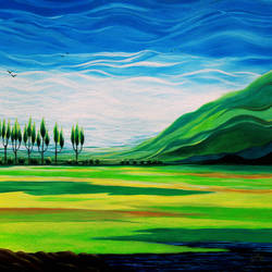mustard field, 36 x 36 inch, seby augustine,paintings,abstract paintings,nature paintings,impressionist paintings,contemporary paintings,paintings for dining room,paintings for living room,paintings for bedroom,paintings for office,paintings for hotel,paintings for hospital,canvas,acrylic color,36x36inch,GAL015017787Nature,environment,Beauty,scenery,greenery,clouds,field