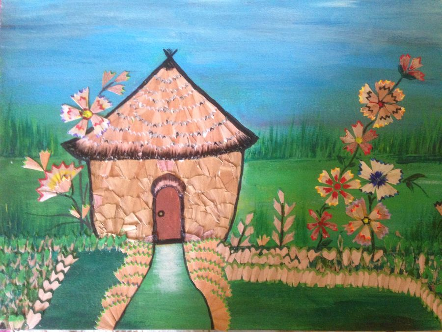 """a hut in a field "", 16 x 12 inch, promila singh,paintings,multi piece paintings,paintings for school,thick paper,acrylic color,wood cut,16x12inch,GAL0823217801"