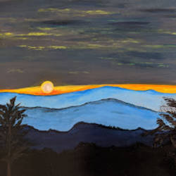 blue sea sunset, 16 x 12 inch, promila singh,nature paintings,paintings for living room,paintings for living room,thick paper,acrylic color,16x12inch,GAL0823217803Nature,environment,Beauty,scenery,greenery