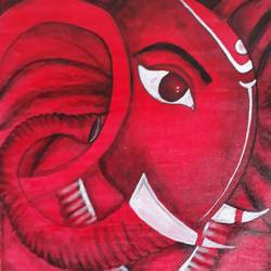 ganesha , 18 x 18 inch, nitesh pandit,paintings,ganesha paintings,paintings for living room,paintings for office,canvas,acrylic color,fabric,wood cut,18x18inch,GAL0843817809,vinayak,ekadanta,ganpati,lambodar,peace,devotion,religious,lord ganesha,lordganpati,ganpati bappa morya,ganesh chaturthi,ganesh murti,elephant god,religious,lord ganesh,ganesha,om,hindu god,shiv parvati, putra,bhakti,blessings,aashirwad,pooja,puja,aarti,ekdant,vakratunda,lambodara,bhalchandra,gajanan,vinayak,prathamesh,vignesh,heramba,siddhivinayak,mahaganpati,omkar,mushak,mouse,ladoo,modak
