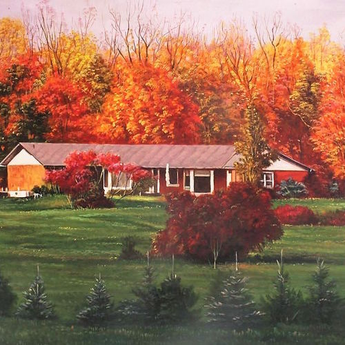 shades of fall, 36 x 24 inch, sigo  aarts,flower paintings,landscape paintings,nature paintings,art deco paintings,photorealism paintings,photorealism,realism paintings,contemporary paintings,realistic paintings,paintings for dining room,paintings for living room,paintings for bedroom,paintings for office,paintings for hotel,paintings for school,paintings for hospital,canvas,oil,36x24inch,GAL0836317814Nature,environment,Beauty,scenery,greenery,trees,orange,house
