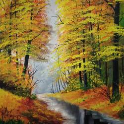 autumn beauty ii, 12 x 16 inch, chandrakesh  singh,landscape paintings,nature paintings,paintings for dining room,paintings for living room,paintings for bedroom,paintings for office,paintings for bathroom,paintings for kids room,paintings for hotel,paintings for kitchen,paintings for school,paintings for hospital,canvas,acrylic color,oil,12x16inch,sunrise,nature,river,tree,GAL0705617817Nature,environment,Beauty,scenery,greenery,mustard yellow,jungle