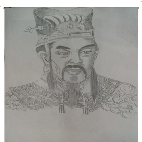 asian king, 17 x 12 inch, riddhinandita riddhinandita,drawings,kids drawings,paintings for dining room,paintings for living room,paintings for office,paintings for kitchen,cartridge paper,charcoal,17x12inch,GAL0851617832