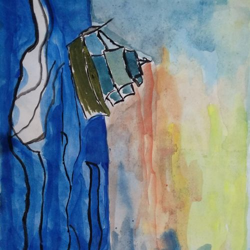 journey of a ship, 12 x 9 inch, manisha ray khan,drawings,modern drawings,drawing paper,watercolor,12x9inch,GAL0857117833