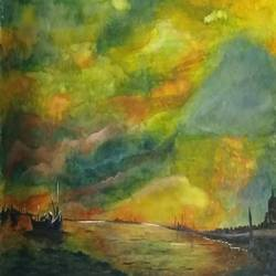 night harbour, 12 x 8 inch, bablu pramanik,paintings,abstract paintings,oil sheet,acrylic color,12x8inch,GAL0773817835