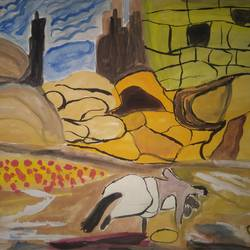 horse and the rocks, 12 x 14 inch, manisha ray khan,drawings,paintings for bedroom,modern drawings,paintings for living room,paintings for bedroom,drawing paper,watercolor,12x14inch,GAL0857117845