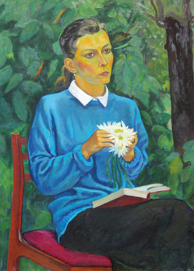 a girl with daisies, 37 x 28 inch, moesey li,portrait paintings,paintings for living room,paintings,canvas,oil paint,37x28inch,GAL07181786