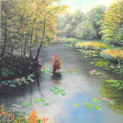 nature - forest and river, 18 x 24 inch, chandrashekhar puranik,paintings,landscape paintings,nature paintings,paintings for dining room,paintings for living room,paintings for bedroom,paintings for office,paintings for dining room,paintings for living room,paintings for bedroom,paintings for office,canvas,acrylic color,18x24inch,GAL0837117868Nature,environment,Beauty,scenery,greenery