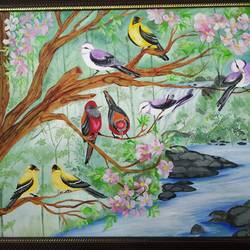 love birds, 16 x 20 inch, vinita agarwal,paintings,nature paintings,canvas,acrylic color,mixed media,16x20inch,GAL0849917869Nature,environment,Beauty,scenery,greenery