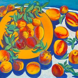 peaches, 28 x 34 inch, moesey li,still life paintings,paintings for dining room,paintings,canvas,oil paint,28x34inch,GAL07181787