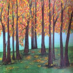 fascinating view of trees, 16 x 12 inch, promila singh,paintings,nature paintings,paintings for office,paintings for office,thick paper,acrylic color,16x12inch,GAL0823217890Nature,environment,Beauty,scenery,greenery
