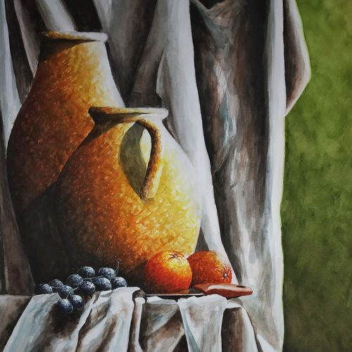 beauty of still life with jug, knife, orange and grapes, 20 x 27 inch, chandrakesh  singh,paintings,modern art paintings,still life paintings,nature paintings,art deco paintings,illustration paintings,realism paintings,realistic paintings,paintings for dining room,paintings for living room,paintings for bedroom,paintings for office,paintings for bathroom,paintings for kids room,paintings for hotel,paintings for kitchen,paintings for school,paintings for hospital,ivory sheet,acrylic color,watercolor,20x27inch,GAL0705617895Nature,environment,Beauty,scenery,greenery