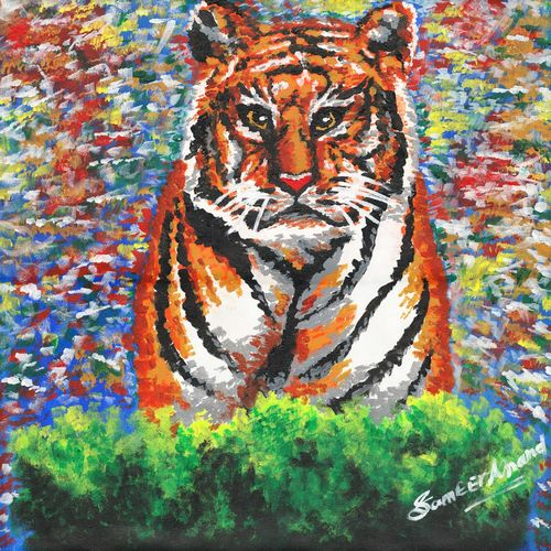 the tiger, 24 x 24 inch, samit kumar,paintings,wildlife paintings,paintings for living room,abstract paintings,canvas,acrylic color,24x24inch,GAL0443417902