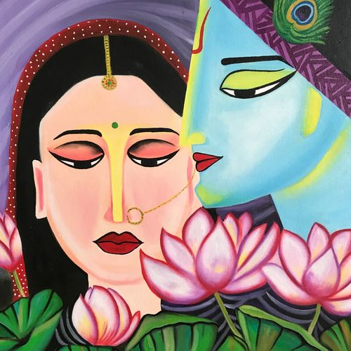 radha krishna !!, 22 x 23 inch, amita dand,paintings,radha krishna paintings,paintings for dining room,paintings for living room,paintings for bedroom,paintings for hotel,canvas,oil,22x23inch,GAL0146717908,radhakrishna,love,pece,lordkrishna,,lordradha,peace,radha,krishna,devotion,couple