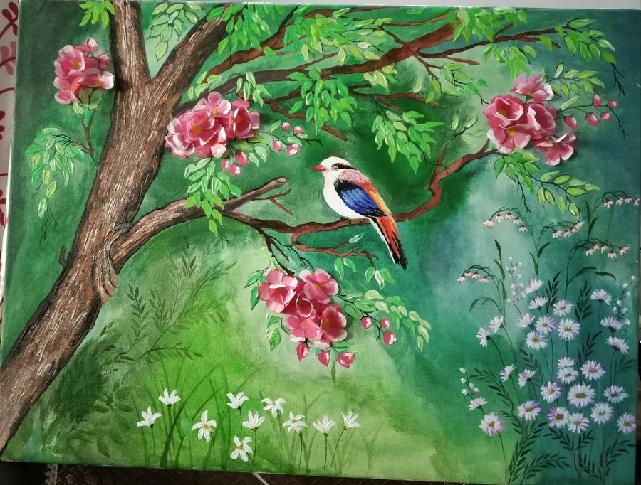 forest bird, 18 x 24 inch, vinita agarwal,paintings,wildlife paintings,figurative paintings,nature paintings,art deco paintings,paintings for dining room,paintings for living room,paintings for bedroom,paintings for office,paintings for hotel,paintings for school,paintings for hospital,canvas,acrylic color,mixed media,18x24inch,GAL0849917911Nature,environment,Beauty,scenery,greenery