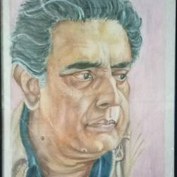 satyajit ray, 21 x 32 inch, anirban karmakar,paintings,portrait paintings,paintings for living room,paintings for hotel,paintings for school,handmade paper,watercolor,21x32inch,GAL0864417922
