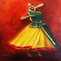radha's dance, a krishnas radha kathak dancer, 24 x 30 inch, asha shenoy,paintings,figurative paintings,religious paintings,realism paintings,radha krishna paintings,paintings for living room,paintings for office,paintings for school,realistic paintings,love paintings,paintings for dining room,paintings for hotel,canvas,oil,24x30inch,GAL0865217931,religious,love radha,dace