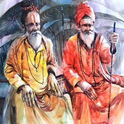 banarasi sadhus, 28 x 20 inch, bijendra  pratap ,figurative paintings,paintings for living room,renaissance watercolor paper,watercolor,28x20inch,GAL04531794
