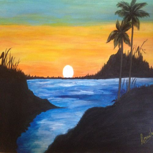 beauty sea sunset, 16 x 12 inch, promila singh,landscape paintings,paintings for living room,paintings for living room,thick paper,acrylic color,16x12inch,GAL0823217949