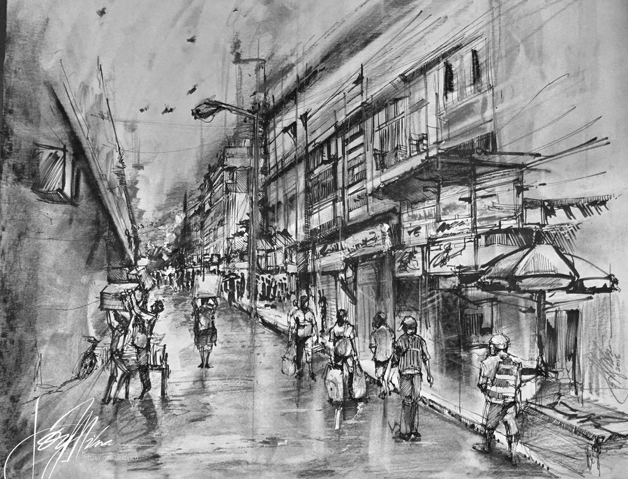 wet after the rain- burrabazaar- kolkata in charcoal, pencils and ink, 18 x 17 inch, joydeep mitra,drawings,abstract drawings,abstract expressionist drawings,expressionist drawings,fine art drawings,impressionist drawings,modern drawings,pop art drawings,realism drawings,paintings for dining room,paintings for living room,paintings for bedroom,paintings for office,paintings for kids room,paintings for kitchen,fabriano sheet,charcoal,ink color,pen color,photo ink,graphite pencil,18x17inch,GAL0768317950