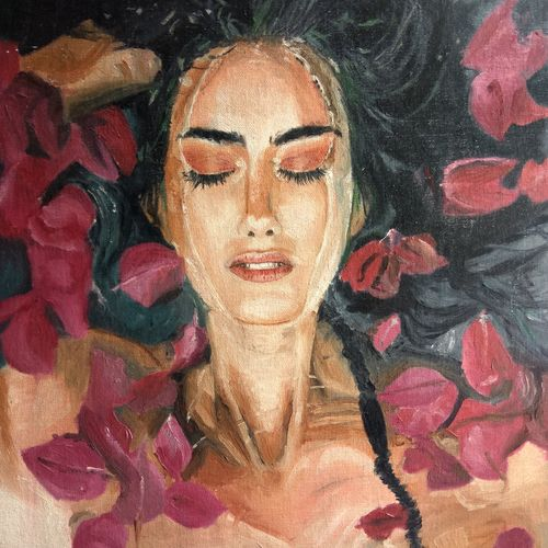 repose, 18 x 24 inch, namrata dey,paintings,figurative paintings,portrait paintings,abstract expressionist paintings,photorealism,paintings for living room,paintings for hotel,canvas board,oil,18x24inch,GAL0866517956